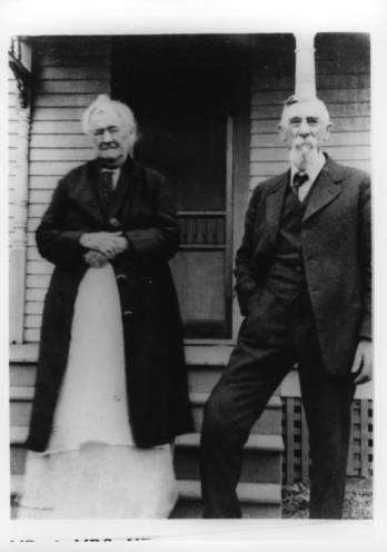 Photo of Harriet (Aunt Hat) and Henry Gillett at 9344 Haskins St. on the Lenexa original townsite. Original: http://www.jocohistory.org/cdm/ref/collection/lhs/id/835