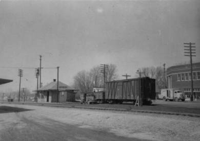 Pflumm and Santa Fe, looking NW 1940s