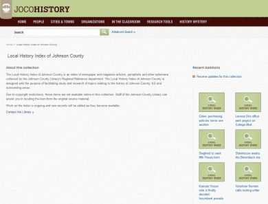 screen shot of Local History Index landing page