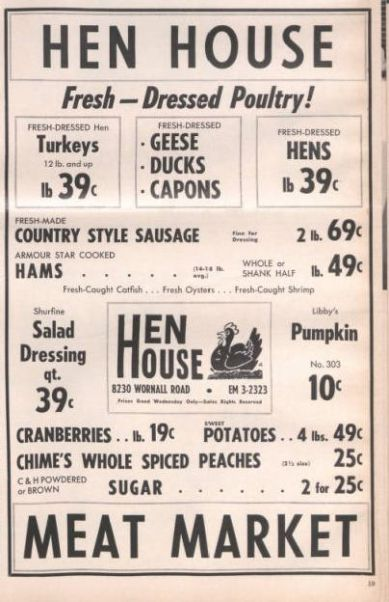 Hen House grocery ad from The Country Squire, November 1961