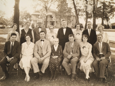 "1931 McAnany family reunion at ""The Groves"" in Shawnee."