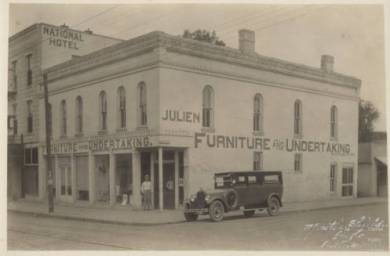 Julien Furniture and Undertaking building, sometime around 1915-1925 Located on the southeast corner of Park and Chestnut in Olathe Original image: http://www.jocohistory.org/cdm/ref/collection/opl/id/1832