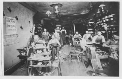 Hyer Boot Co. sewing room, 1895 Original image: http://www.jocohistory.org/cdm/ref/collection/jcm/id/1519
