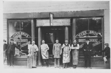 Outside Hyer Boot Company, circa 1881 Original image: http://www.jocohistory.org/cdm/ref/collection/jcm/id/1950