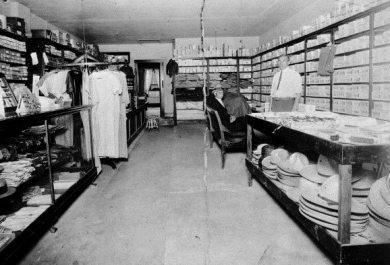 Interior of Sol Finkelston's dry goods store, circa 1930.