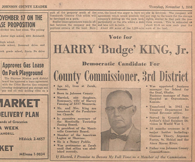 Johnson County Leader - Nov 1, 1956. Vol 2, No 11 http://www.jocohistory.org/cdm/ref/collection/jcm/id/12753
