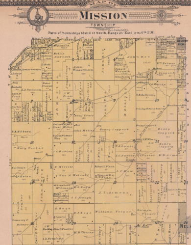 Mission Township on p. 17 of the 1902 Atlas of Johnson County Philip Reinhardt's land parcel is in section 10 Full atlas at http://www.jocohistory.org/cdm/ref/collection/atlas/id/128