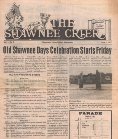 The Shawnee Crier - June 1, 1977. Vol 1, No 5 http://www.jocohistory.org/cdm/ref/collection/jcm/id/12666