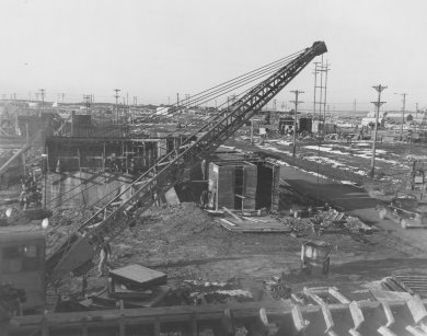Construction at Sunflower in January 1944.