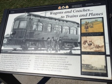"Strang Park historical descriptor - ""Wagons and Coaches...to Trains and Plains"""