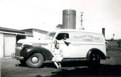 Delivery truck for Wolverine Farm Dairy, 1948 (Hugh and Mary White).  Original: http://www.jocohistory.org/cdm/ref/collection/jcm/id/15007