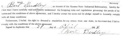 Bert Dudley's 1914 parole agreement.