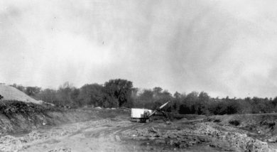 Construction at Gardner Lake, circa 1937.