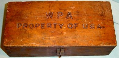 WPA time card box from the Gardner Lake construction project in the late 1930s.  The box is on display at the Johnson County Museum.