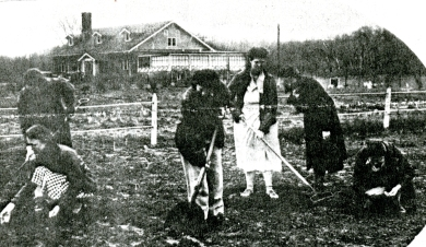 Women work in the garden at the NYA camp in Zarah.  Kansas City Star, April 18, 1937.