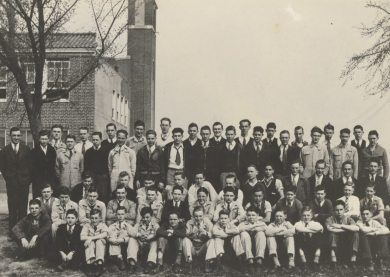 The 1934-1935 Shawnee Mission FFA chapter at Shawnee Mission Rural High School.