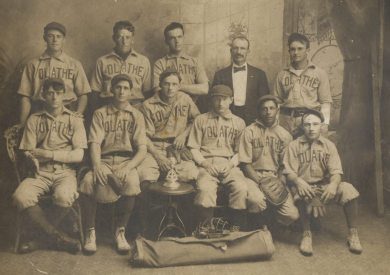 Claude Hendrix (top left) with the Olathe team baseball team in 1906.