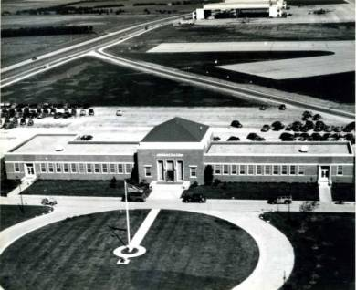 Aerial view of the Olathe Naval Air Station Administration Building, circa 1945