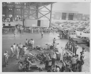 View from inside an Olathe Naval Air Station hangar in 1949.