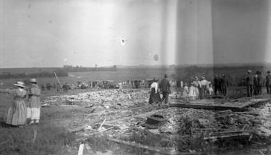 People of Morse, Kansas survey the damage caused by the tornado, ca. 1917. Source: JoCoHistory.org.