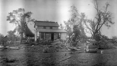A damaged home after Morse tornado, ca. 1917. Source: JoCoHistory.org.