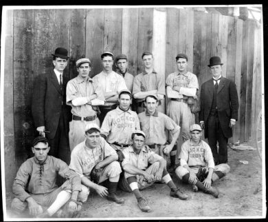 Picture of the Hocker Grove 'Trolley League' baseball team, 1908