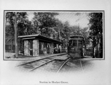 Trolley station at Hocker Grove, 1915