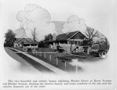 Hocker Grove homes located on the southeast and northeast corners of the intersection of Knox Street and Hocker Drive, 1915