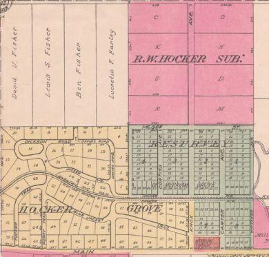 Hocker Grove area of Johnson County atlas map