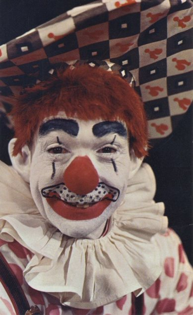 Frank's clown costume was a tribute to three or four distinct types of clowns, as well as famous clown characters. Frank knew the history of clowning well, and sometimes gave lectures on the topic..