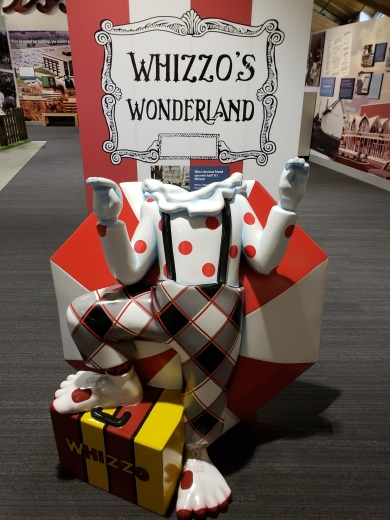 "A photo opportunity in the ""Becoming Johnson County"" exhibit—your chance to put yourself in ""Whizzo's Wonderland!"""