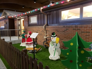 """The """"All-Electric House"""" decked out for Christmas, at Johnson County Museum."""
