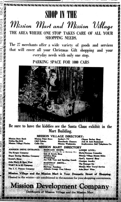 Advertisement for Christmas Shopping in the county's suburban northeast. Ad in JOHNSON COUNTY HERALD, December 16, 1954.
