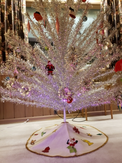 """The """"Evergleam"""" aluminum Christmas tree, made by Aluminum Specialty Company, in Wisconsin."""