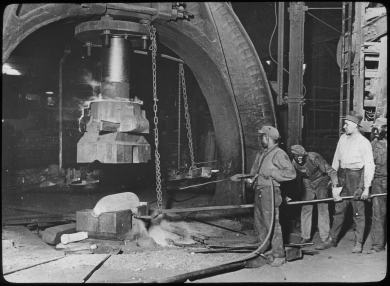 Forge for artillery shells in ammunition factory, World War I era. Courtesy National WWI Museum and Memorial (1989.39.206)