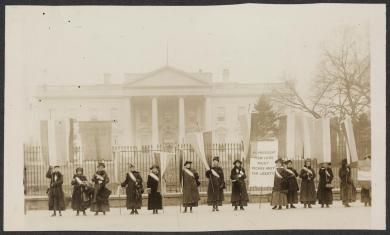 Photograph of a suffragist picket line at the White House, Washington, D.C., c. 1917.