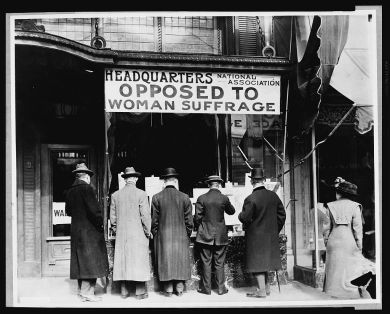 Photograph of a National Anti-Suffrage Association booth, c. 1911. Courtesy Library of Congress.