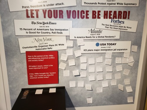 """Let your voice be heard!"" interactive wall in The Turbulent Twenties exhibit."