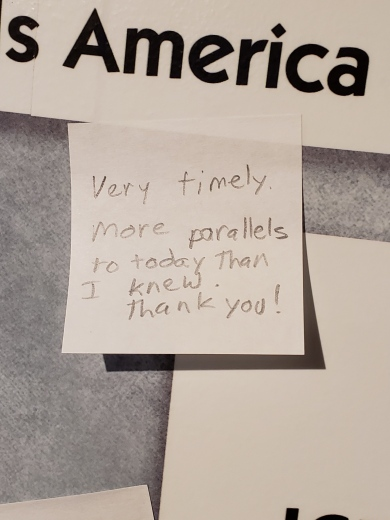 Comment on the feedback wall observing parallels between the 1920s and the 2010s.
