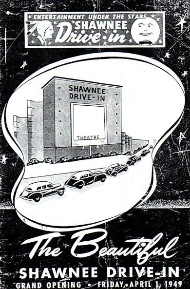 Shawnee Drive-In advertisement, grand opening Friday, April 1, 1949
