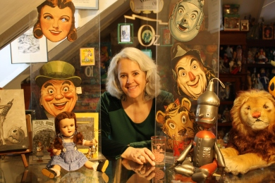 Jane Albright, Kansas City-based Wizard of Oz collector. Her collection fills the gallery.