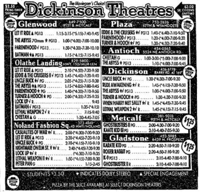 21 1989 August Movie Times