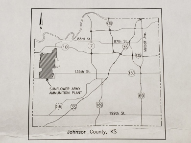 Map of Johnson County, Kansas, showing the location of the Sunflower AAP.