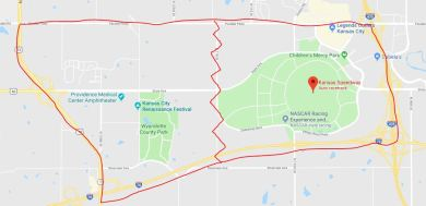 Google Maps view of the land in Wyandotte County that was considered for the Wonderful World of Oz theme park site (outlined in red). Today, the Kansas Speedway occupies the eastern portion of the area.