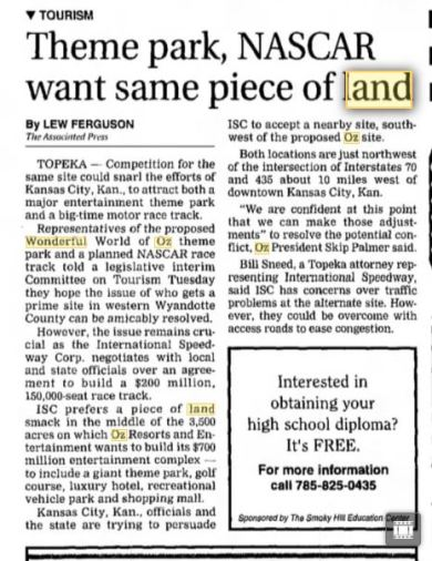 A Salina Journal article from 1997, detailing the conflicting plans for the same piece of land in Wyandotte County.
