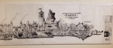 """Detailed elevation plans for a Witch's Castle ride and environment. This and other original plans and artworks on display through Nov. 2, 2019 in the Museum's """"Expanding Oz"""" exhibit."""