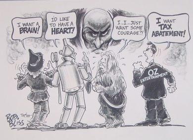 Political Cartoon by Bob Bliss for the Sun Newspaper. [Sun Newspaper Coll., Johnson County Museum]