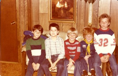 3-Jesse Valdez, second from left, with his neighborhood friends in Merriam, Kansas.