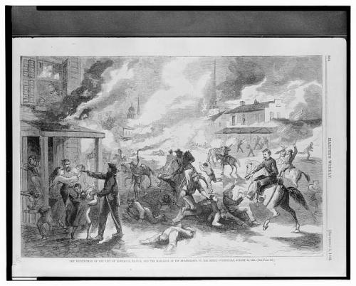 Pencil or charcoal drawing of buildings burning and soldiers shooting and trampling people.