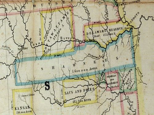 Eastman's Map, showing reservations in Kansas, c. 1854. Courtesy Kansas Historical Society.